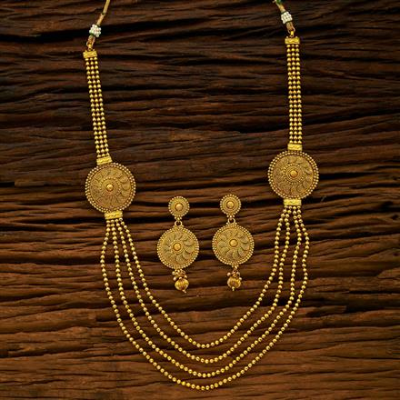15421 Antique Side Pendant Necklace with gold plating