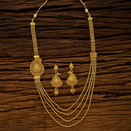 15422 Antique Side Pendant Necklace with gold plating