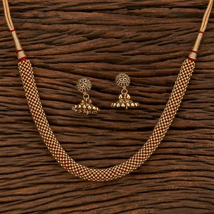 15457 Antique Plain Necklace With Gold Plating