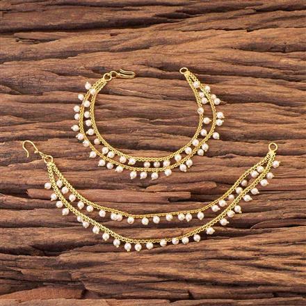 16970 Antique gold plated Padmavati Ear Chains