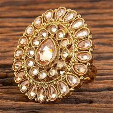 18194 Antique Classic Ring with mehndi plating