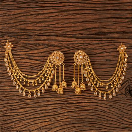 18864 Antique Earring with Chain with gold plating