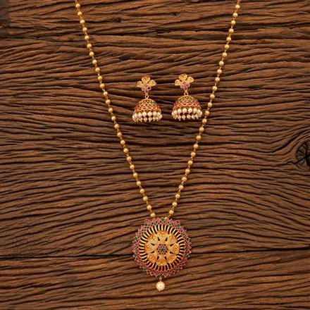 200060 Antique Classic Pendant set with Matte Gold plating