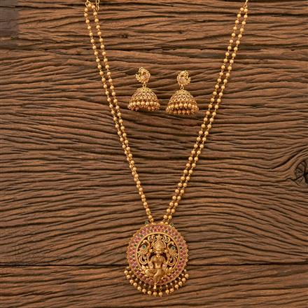 200170 Antique Mala Pendant set with Matte gold plating