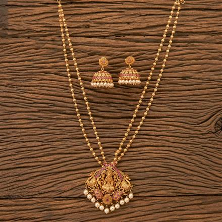 200225 Antique Peacock Pendant set with Matte gold plating