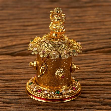 200235 Antique Classic Sindoor Box with gold plating