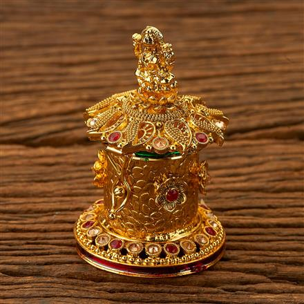200236 Antique Classic Sindoor Box with gold plating