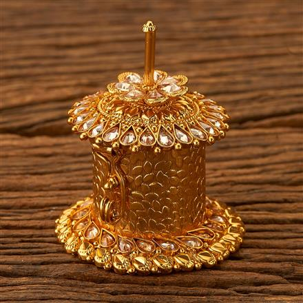 200277 Antique Classic Sindoor Box with gold plating