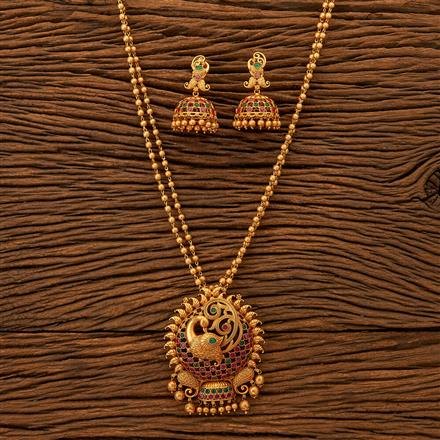 200290 Antique Peacock Pendant set with Matte gold plating