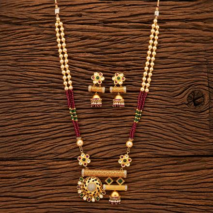 200399 Antique Mala Pendant set with gold plating