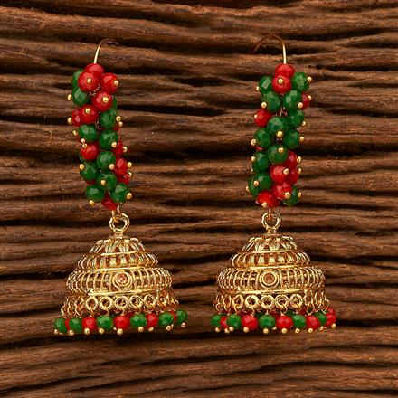 200436 Antique Jhumkis with gold plating
