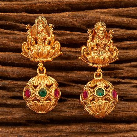 200463 Antique Temple Earring with Matte Gold plating