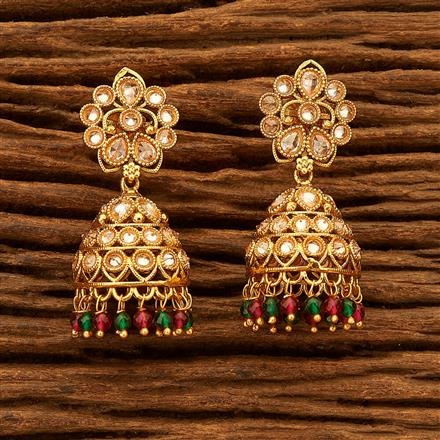 200464 Antique Jhumkis with gold plating