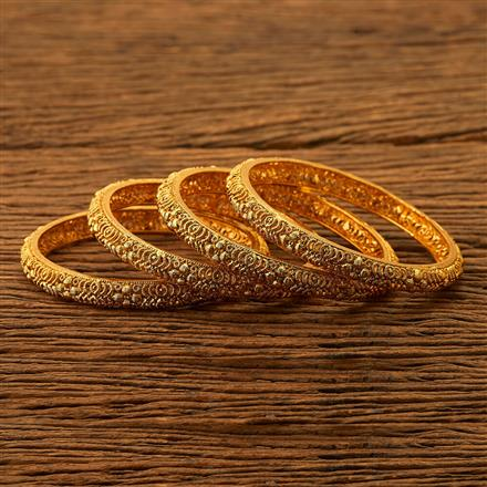 200498 Antique Plain Bangles with gold plating
