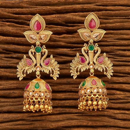 200514 Antique Peacock Earring with gold plating