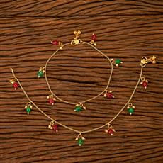 200536 Antique Delicate Payal with gold plating