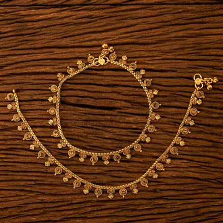 200758 Antique Delicate Payal with gold plating