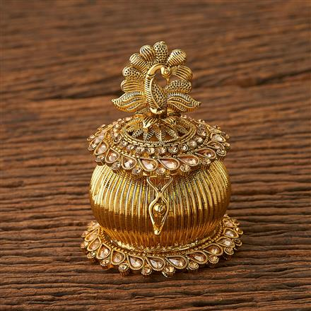 20082 Antique Classic Sindoor Box with gold plating