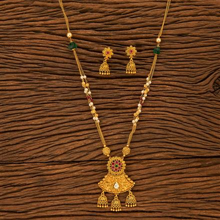 201002 Antique Mala Pendant set with Matte Gold plating