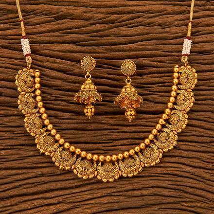 201031 Antique Plain Necklace with Matte Gold plating
