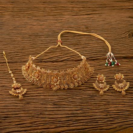 201053 Antique Choker Necklace with gold plating