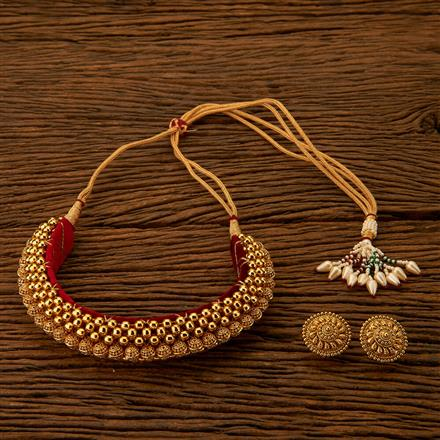 201062 Antique Choker Necklace with gold plating