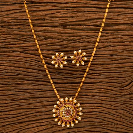 201067 Antique South Indian Pendant Set With Matte Gold Plating