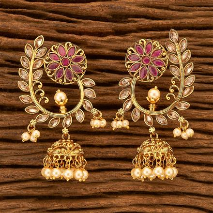 201071 Antique Jhumkis with gold plating