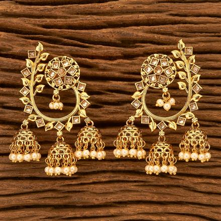 201072 Antique Jhumkis with gold plating