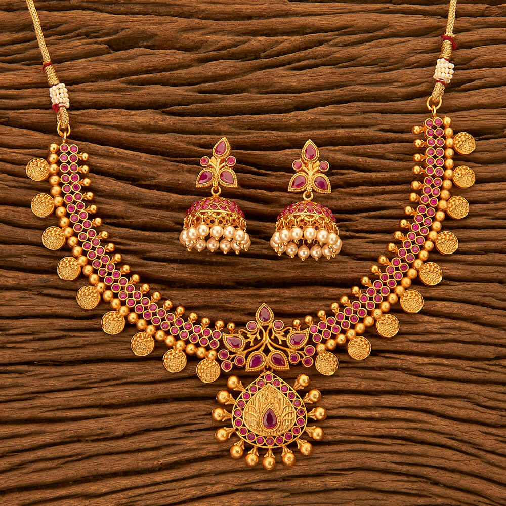 cf8ec1af1d630 Purchase 201083 Antique South Indian Necklace With Matte Gold ...