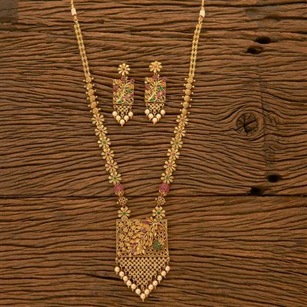 201090 Antique Long Necklace with gold plating