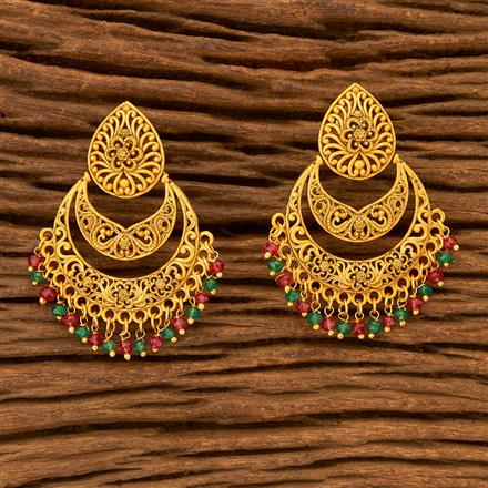 201091 Antique Chand Earring with Matte Gold plating