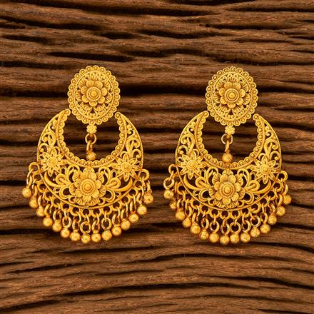 201099 Antique Chand Earring with Matte Gold plating