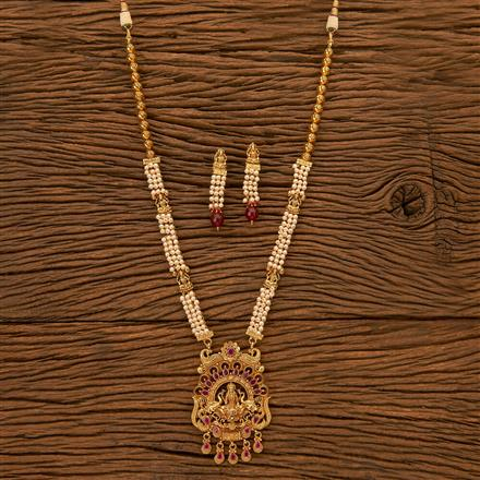 201110 Antique Peacock Necklace with gold plating