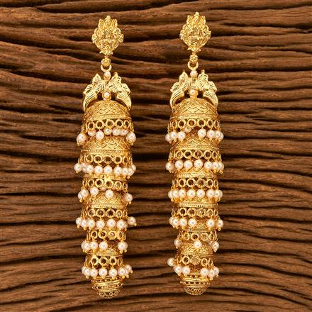 201147 Antique South Indian Earring With Matte Gold Plating