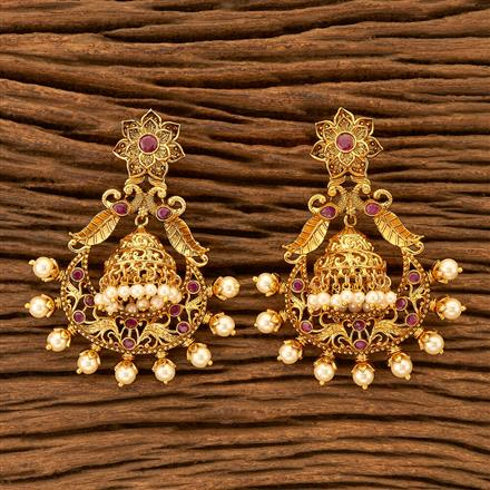 201154 Antique Jhumkis with gold plating