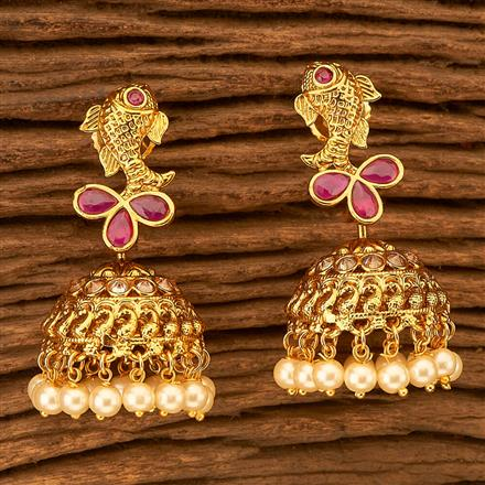 201155 Antique Jhumkis with gold plating