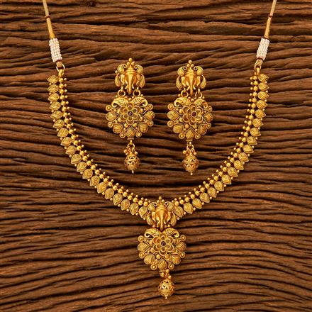 201170 Antique South Indian Necklace With Matte Gold Plating