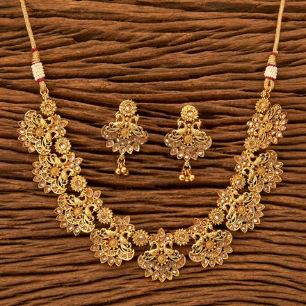 201183 Antique Peacock Necklace with gold plating