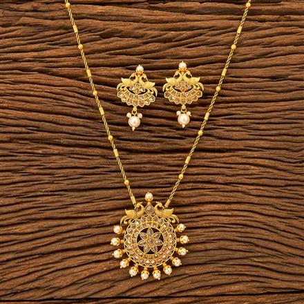 201208 Antique South Indian Pendant Set With Matte Gold Plating