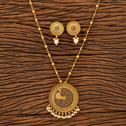 201209 Antique South Indian Pendant Set With Matte Gold Plating
