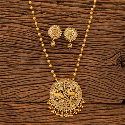 201211 Antique South Indian Pendant Set With Matte Gold Plating