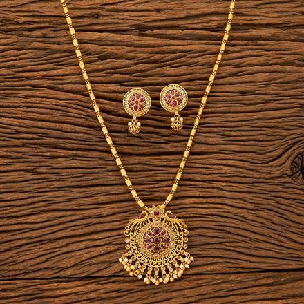 201212 Antique South Indian Pendant Set With Matte Gold Plating