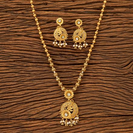 201215 Antique South Indian Pendant Set With Matte Gold Plating