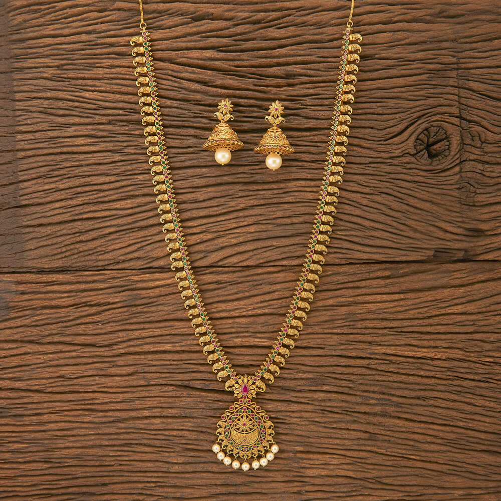 Purchase 201328 Antique South Indian Necklace With Matte Gold