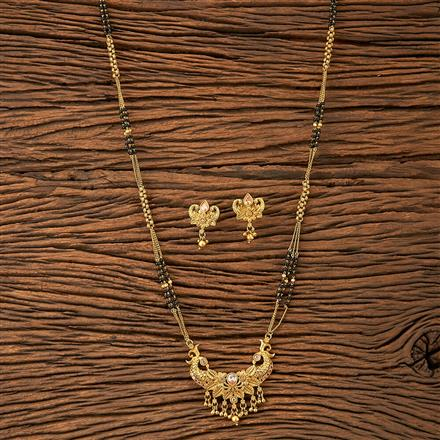 20136 Antique Peacock Mangalsutra with matte gold plating