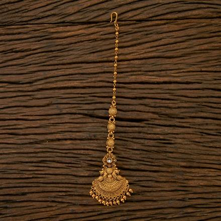 201496 Antique South Indian Tikka With Matte Gold Plating