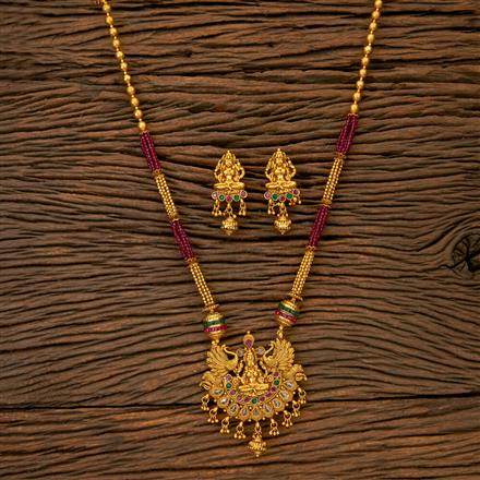 201667 Antique South Indian Pendant Set With Gold Plating