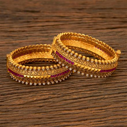 201698 Antique Openable Bangles with Matte Gold plating