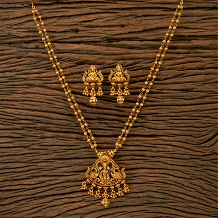 201771 Antique South Indian Pendant Set With Matte Gold Plating